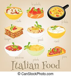 Italian Food Set - Italian Traditional Food Set. Italian...