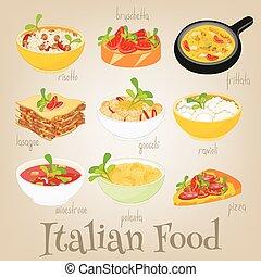 italiano, cibo, set,