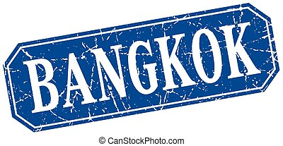 Bangkok blue square grunge retro style sign