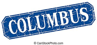 Columbus blue square grunge retro style sign