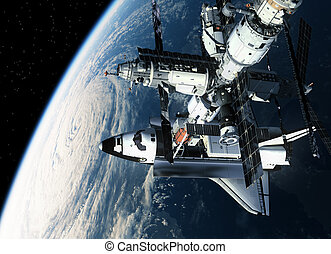 Space Station And Shuttle Orbiting Earth