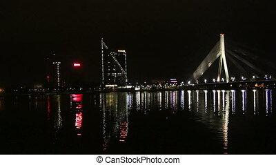 The night scene of the Vansu bridge over river Daugava,...