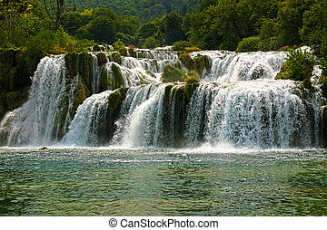 famous waterfall in national park krka - croatia