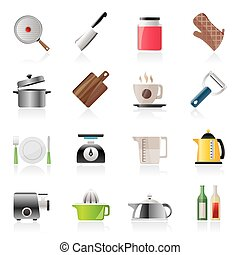 home kitchen equipment icons - vector icon set
