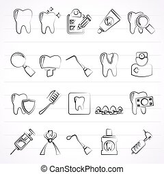 dental medicine and tools icons - Vector Icon set