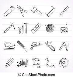 logging and woodworking icons - Carpentry, logging and...