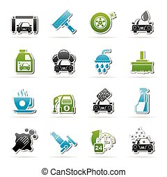 car wash objects and icons - Professional car wash objects...