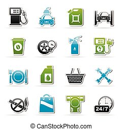 Gas Station Services Icons  - vector icon set