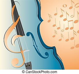 violin and key abstract lines