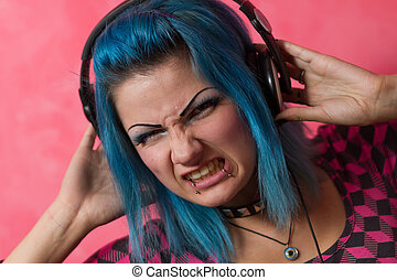 That sounds gnarly - Cute young girl with blue dyed hari and...