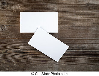 blank business cards - Photo of blank business cards on dark...