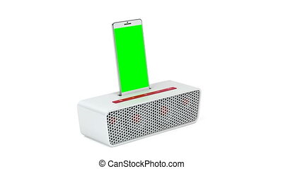 Smartphone and docking speaker - White docking station...