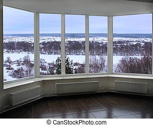 window of verandah overlooking the winter landscape - wide...