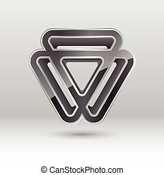Abstract 3d triangle metal icon