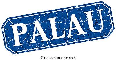 Palau blue square grunge retro style sign