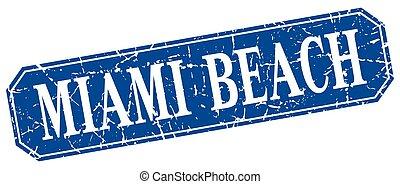 Miami Beach blue square grunge retro style sign