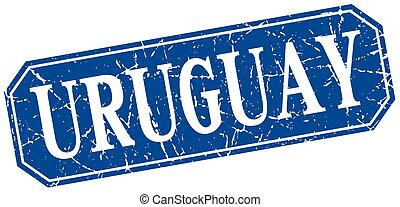 Uruguay blue square grunge retro style sign