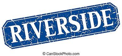 Riverside blue square grunge retro style sign