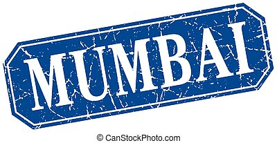 Mumbai blue square grunge retro style sign