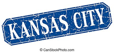 Kansas City blue square grunge retro style sign