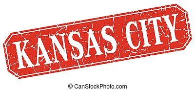 Kansas City red square grunge retro style sign