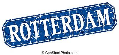 Rotterdam blue square grunge retro style sign