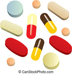 isolated painkiller pills - fully editable vector...