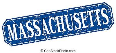 Massachusetts blue square grunge retro style sign