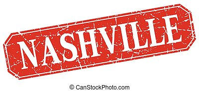 Nashville red square grunge retro style sign
