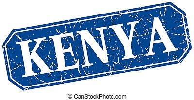Kenya blue square grunge retro style sign
