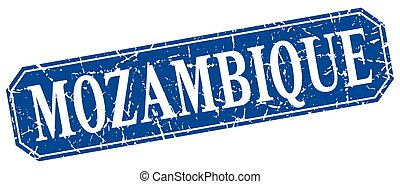 Mozambique blue square grunge retro style sign