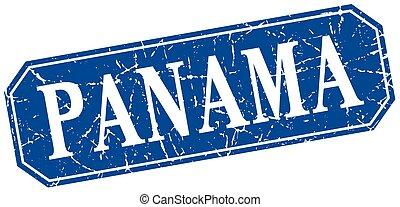 Panama blue square grunge retro style sign