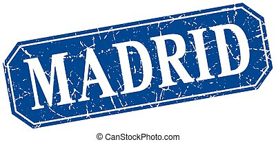 Madrid blue square grunge retro style sign