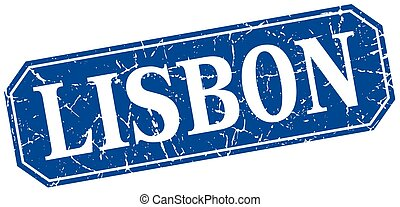 Lisbon blue square grunge retro style sign