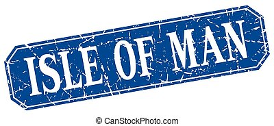 Isle Of Man blue square grunge retro style sign