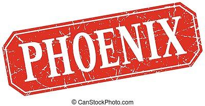 Phoenix red square grunge retro style sign