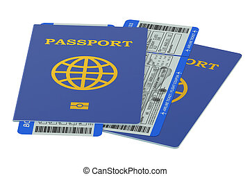 Two passports and boarding pass tickets