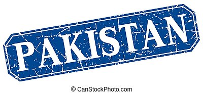 Pakistan blue square grunge retro style sign