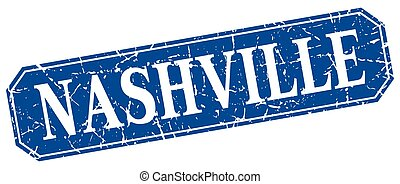 Nashville blue square grunge retro style sign