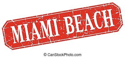 Miami Beach red square grunge retro style sign