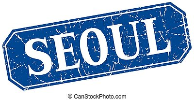 Seoul blue square grunge retro style sign