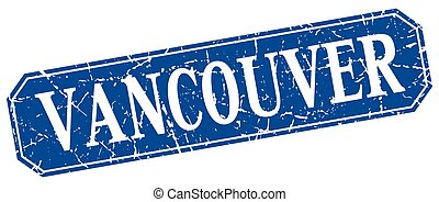 Vancouver blue square grunge retro style sign