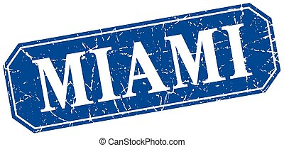 Miami blue square grunge retro style sign