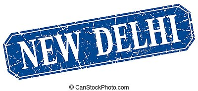 New Delhi blue square grunge retro style sign