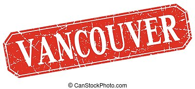Vancouver red square grunge retro style sign
