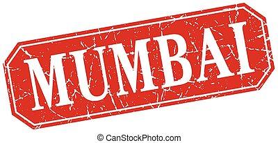 Mumbai red square grunge retro style sign