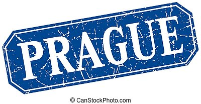 Prague blue square grunge retro style sign