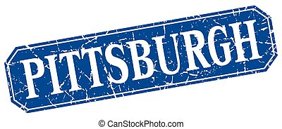 Pittsburgh blue square grunge retro style sign