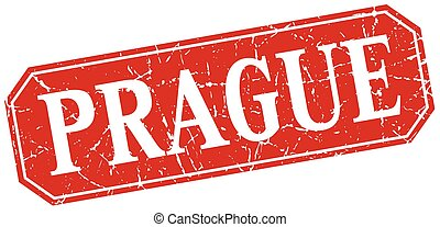 Prague red square grunge retro style sign