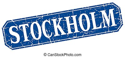 Stockholm blue square grunge retro style sign